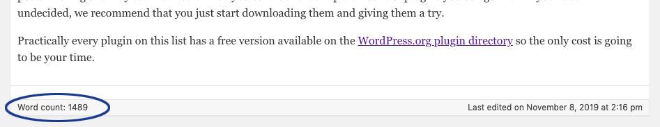 Word Count in the WordPress Classic Editor
