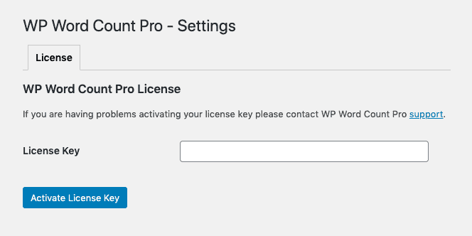 WP Word Count Pro License Key Activation Screenshot